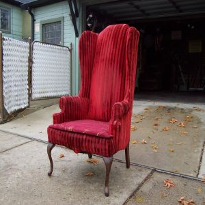 View; 1950u0027s Red Velvet Wingback Chair